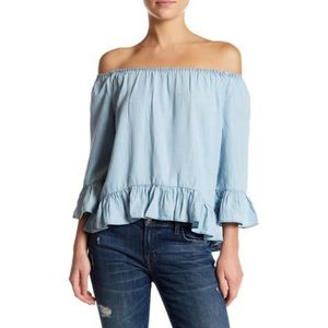Beachlunchlounge light chambray off shoulder top